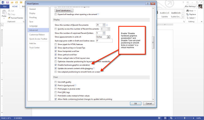 Improve Office 2013 performance in a virtual machine