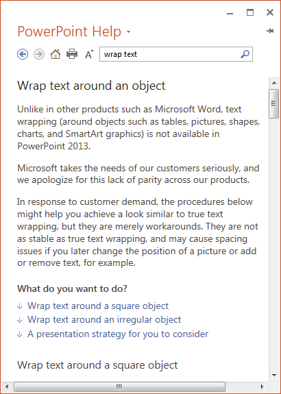 how to change text wrapping on powerpoint