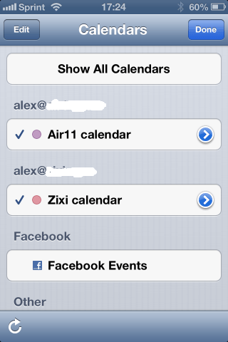 Custom Outlook calendar names in iPhone