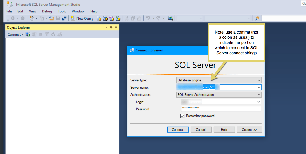 SQL Server connect strings use a comma, not a colon