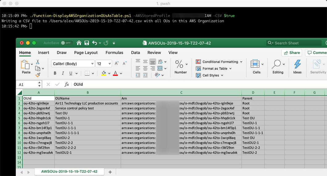 An example to list AWS Organizations Organizational Units